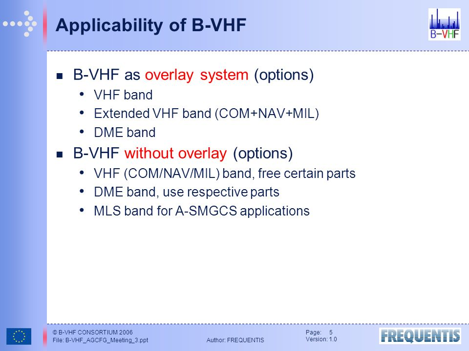 © B-VHF CONSORTIUM 2006 File: B-VHF_AGCFG_Meeting_3.ppt Author: FREQUENTIS Page: 5 Version: 1.0 Applicability of B-VHF B-VHF as overlay system (options) VHF band Extended VHF band (COM+NAV+MIL) DME band B-VHF without overlay (options) VHF (COM/NAV/MIL) band, free certain parts DME band, use respective parts MLS band for A-SMGCS applications