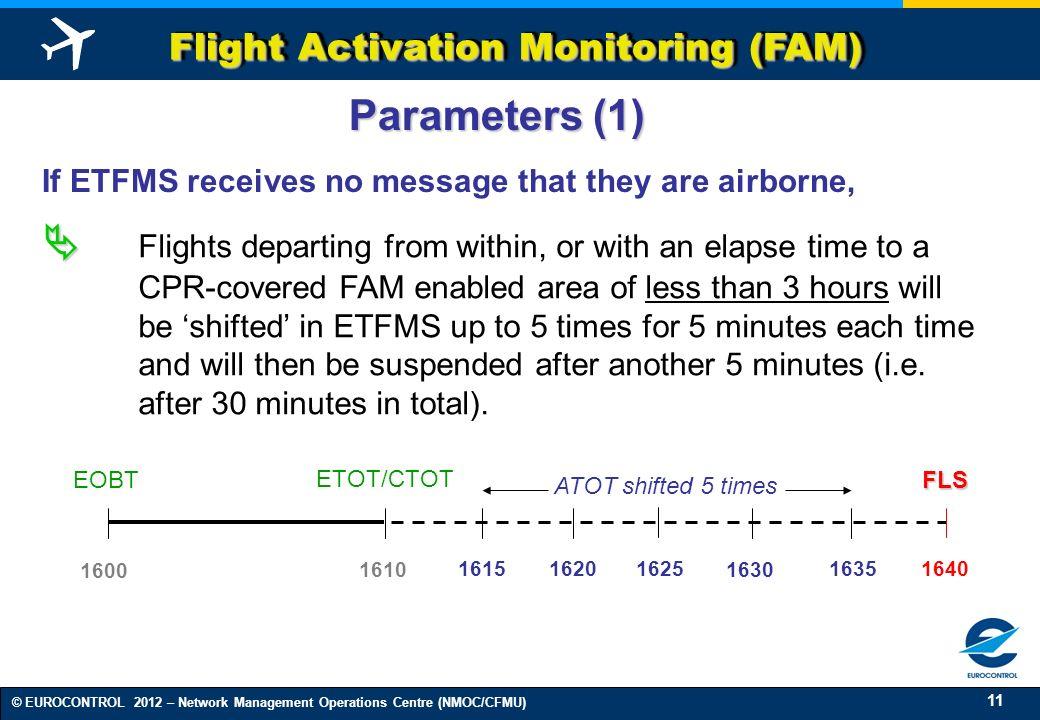 11 © EUROCONTROL 2012 – Network Management Operations Centre (NMOC/CFMU) Flight Activation Monitoring (FAM) 1600 1615 16251630 1635 1640 1620 1610 Par