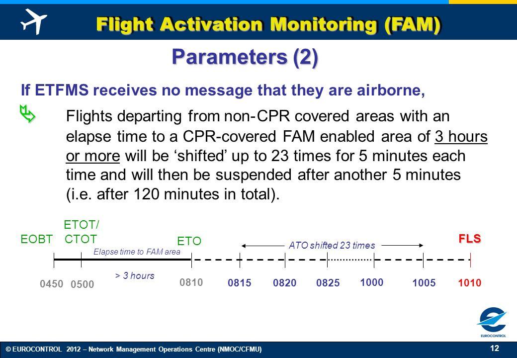 12 © EUROCONTROL 2012 – Network Management Operations Centre (NMOC/CFMU) Flight Activation Monitoring (FAM) 0450 0815 0825 1000 1005 1010 0820 Paramet
