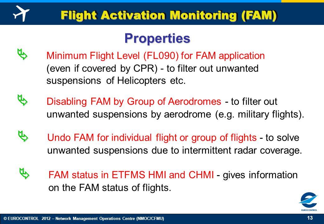 13 © EUROCONTROL 2012 – Network Management Operations Centre (NMOC/CFMU) Flight Activation Monitoring (FAM) Minimum Flight Level (FL090) for FAM appli