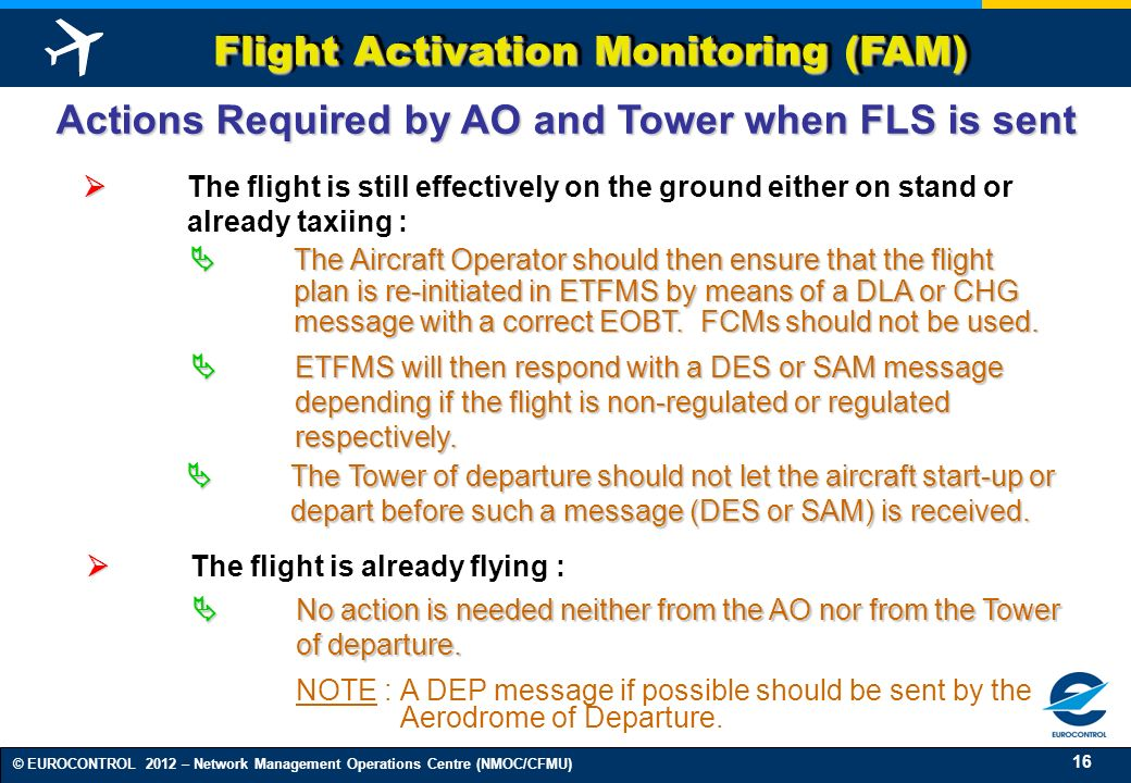 16 © EUROCONTROL 2012 – Network Management Operations Centre (NMOC/CFMU) Flight Activation Monitoring (FAM) Actions Required by AO and Tower when FLS