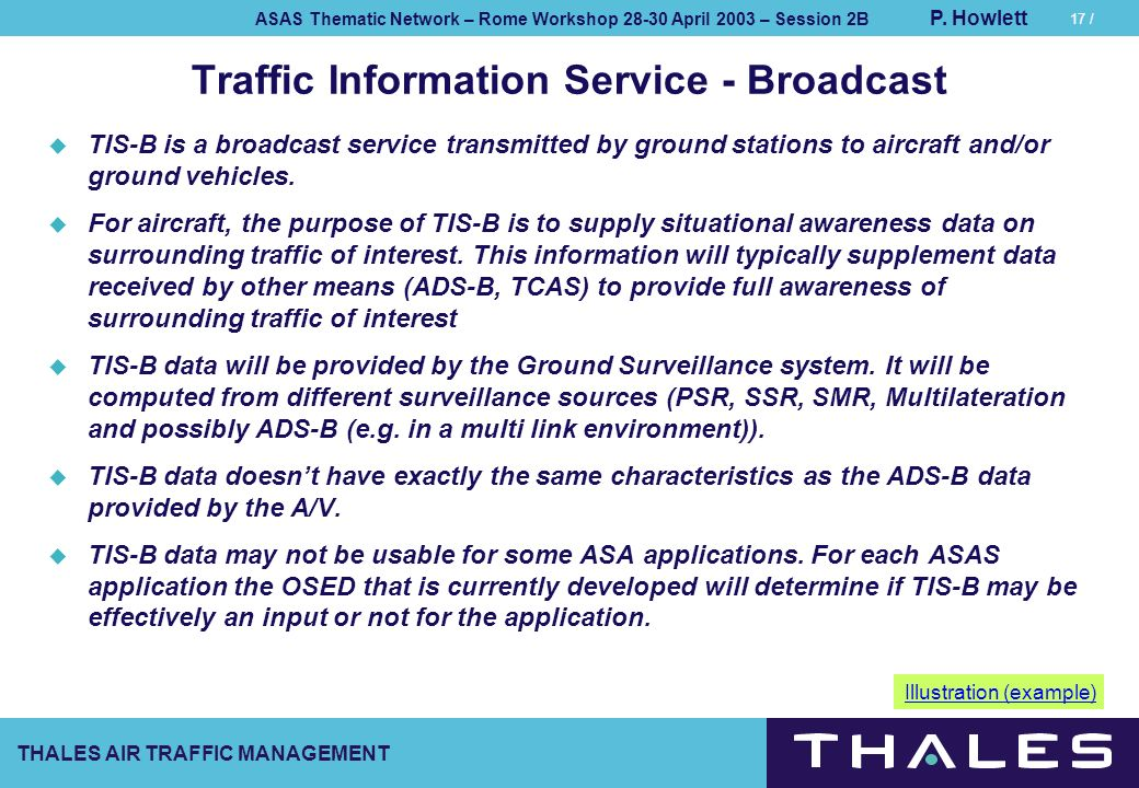 THALES AIR TRAFFIC MANAGEMENT ASAS Thematic Network – Rome Workshop 28-30 April 2003 – Session 2B P. Howlett 17 / Traffic Information Service - Broadc
