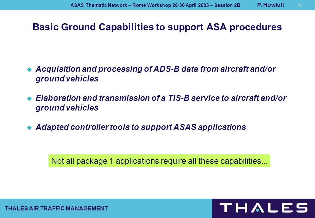 THALES AIR TRAFFIC MANAGEMENT ASAS Thematic Network – Rome Workshop 28-30 April 2003 – Session 2B P. Howlett 7 / Basic Ground Capabilities to support