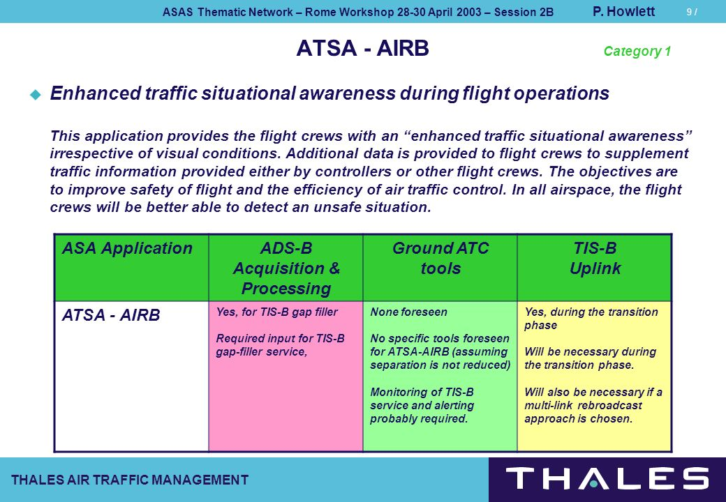 THALES AIR TRAFFIC MANAGEMENT ASAS Thematic Network – Rome Workshop 28-30 April 2003 – Session 2B P. Howlett 9 / ATSA - AIRB Enhanced traffic situatio