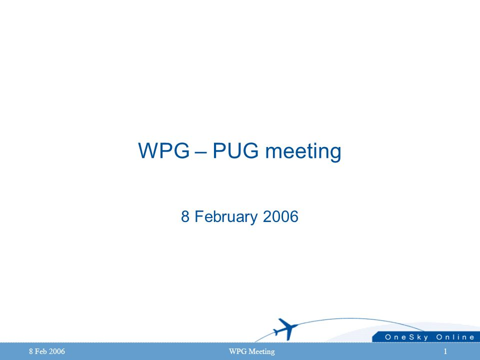 8 Feb 2006WPG Meeting1 WPG – PUG meeting 8 February 2006
