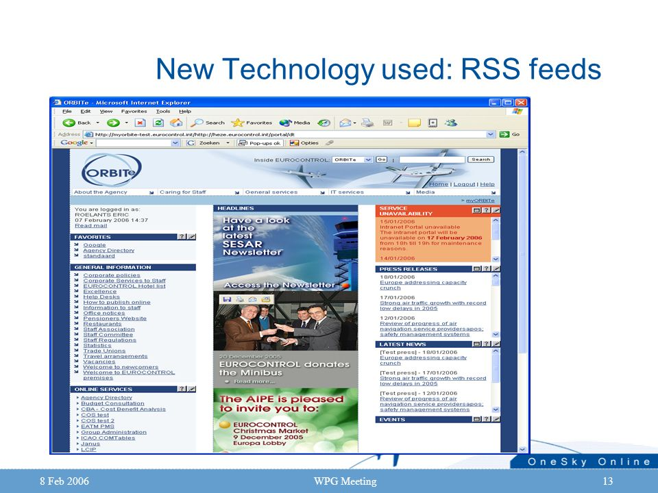 8 Feb 2006WPG Meeting13 New Technology used: RSS feeds