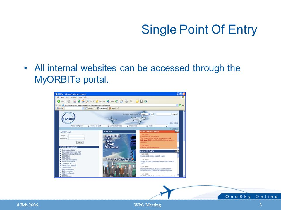 8 Feb 2006WPG Meeting3 Single Point Of Entry All internal websites can be accessed through the MyORBITe portal.