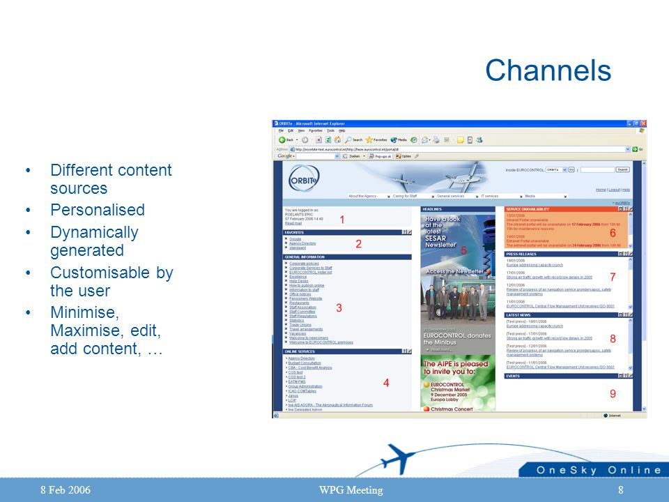 8 Feb 2006WPG Meeting8 Channels Different content sources Personalised Dynamically generated Customisable by the user Minimise, Maximise, edit, add co