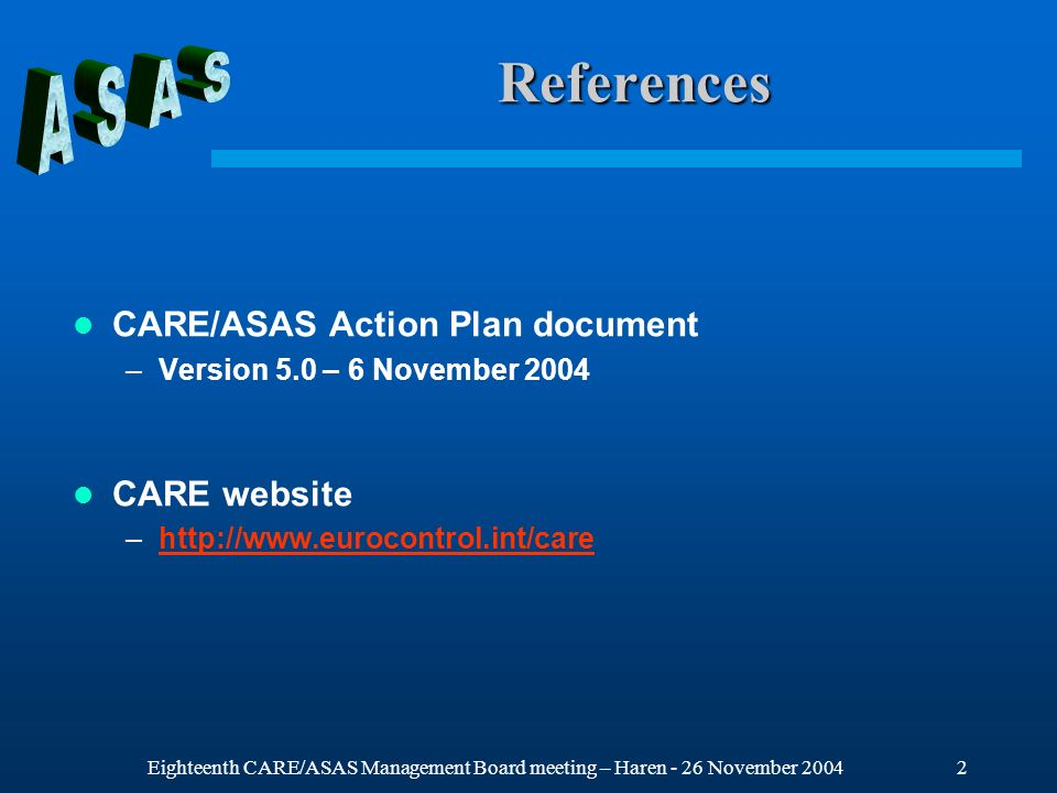 Eighteenth CARE/ASAS Management Board meeting – Haren - 26 November 20043 CARE/ASAS Initial Objectives Promote co-operative work on ASAS within Europe Establish a common view on ASAS applications Support the validation of the strategic line of action related to transfer of separation responsibility to the cockpit identified in the ATM Strategy for 2000+ Make the best use of the wide range of competencies which are required to address all the issues Avoid the duplication of R&D efforts