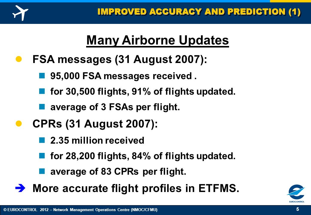 5 © EUROCONTROL 2012 – Network Management Operations Centre (NMOC/CFMU) IMPROVED ACCURACY AND PREDICTION (1) Many Airborne Updates FSA messages (31 Au