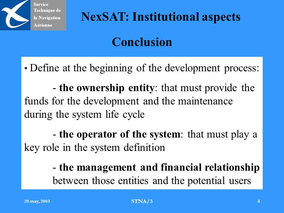 Service Technique de la Navigation Aérienne NexSAT: Institutional aspects 20 may, 2003 STNA/34 Conclusion Define at the beginning of the development p