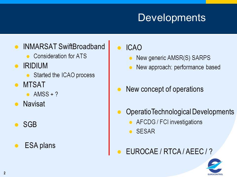 2 Developments INMARSAT SwiftBroadband Consideration for ATS IRIDIUM Started the ICAO process MTSAT AMSS + ? Navisat SGB ESA plans ICAO New generic AM