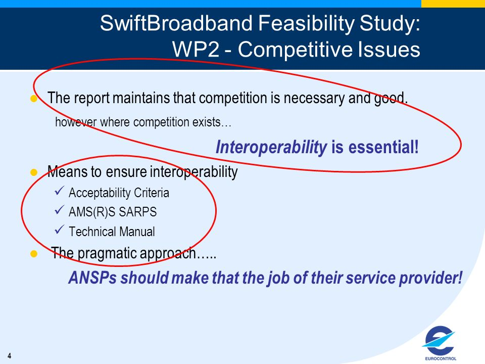 4 SwiftBroadband Feasibility Study: WP2 - Competitive Issues The report maintains that competition is necessary and good. however where competition ex