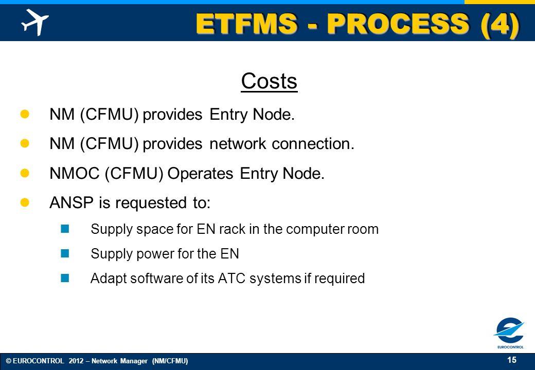 15 © EUROCONTROL 2012 – Network Manager (NM/CFMU) ETFMS - PROCESS (4) Costs NM (CFMU) provides Entry Node. NM (CFMU) provides network connection. NMOC