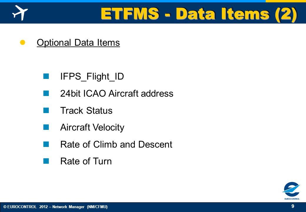 9 © EUROCONTROL 2012 – Network Manager (NM/CFMU) ETFMS - Data Items (2) Optional Data Items IFPS_Flight_ID 24bit ICAO Aircraft address Track Status Ai