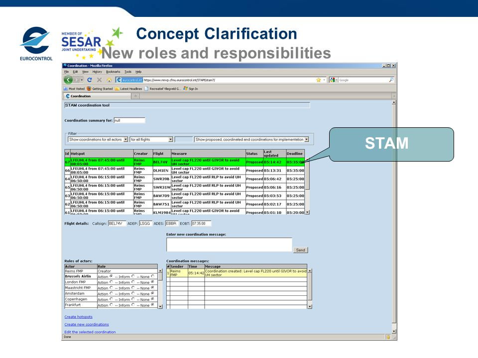 Concept Clarification New roles and responsibilities STAM