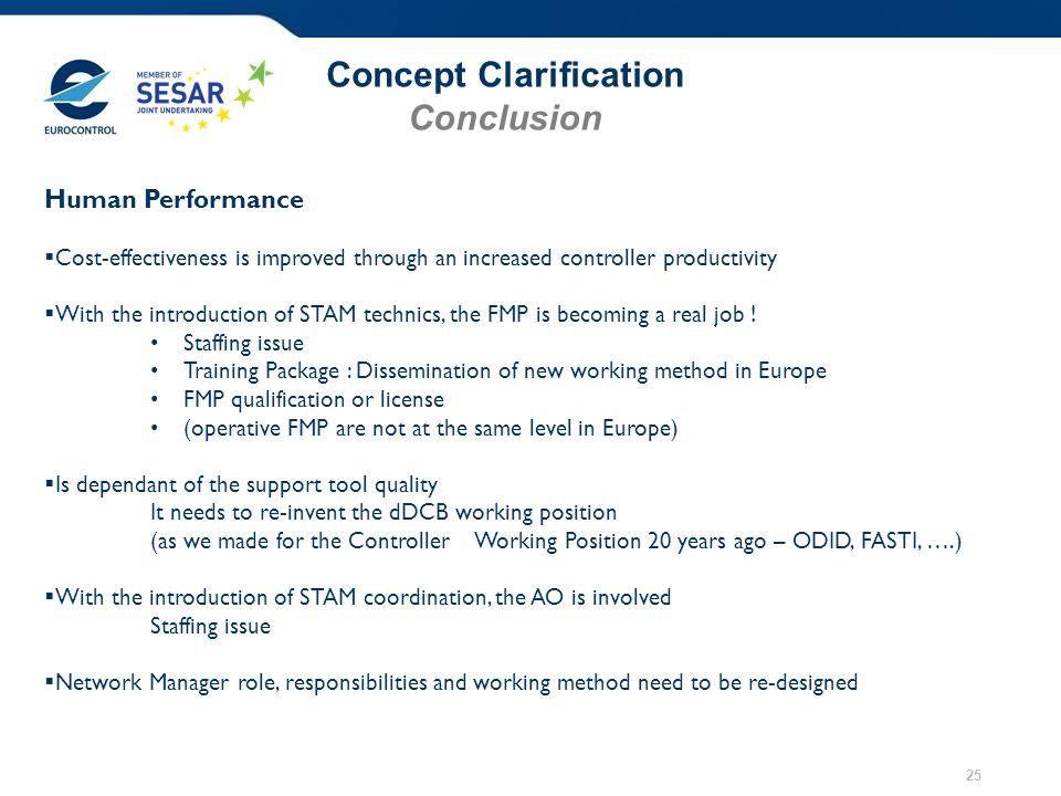 Concept Clarification Conclusion 25 Human Performance Cost-effectiveness is improved through an increased controller productivity With the introduction of STAM technics, the FMP is becoming a real job .