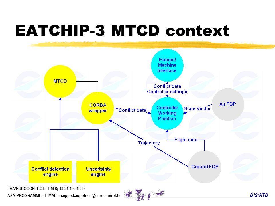 DIS/ATD FAA/EUROCONTROL TIM 6; 19-21.10. 1999 ASA PROGRAMME; E-MAIL: seppo.kauppinen@eurocontrol.be EATCHIP-3 MTCD context