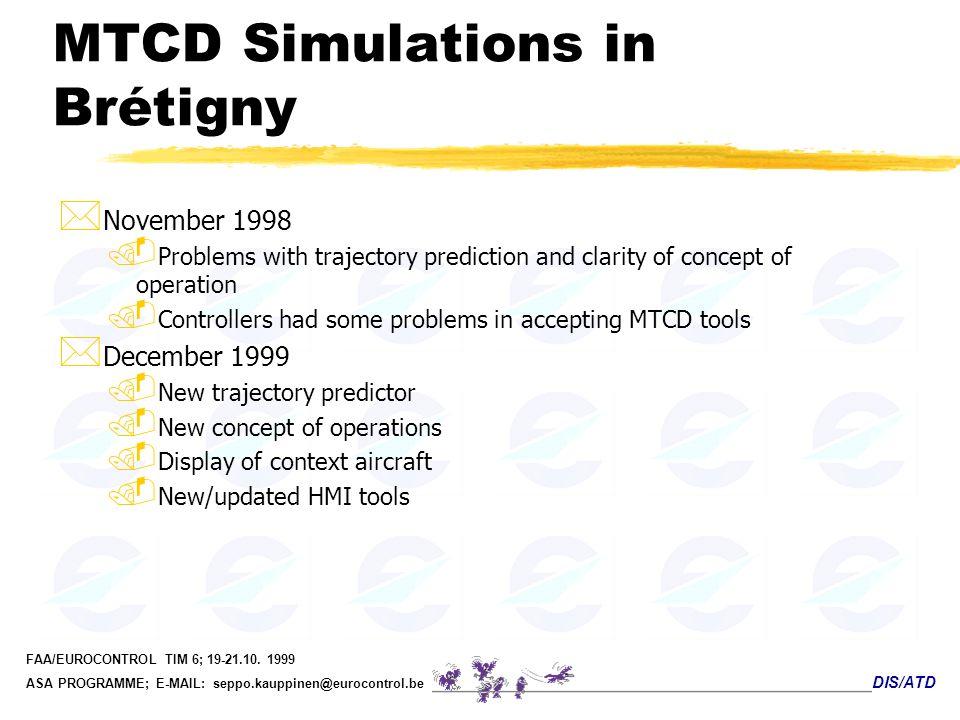 DIS/ATD FAA/EUROCONTROL TIM 6; 19-21.10. 1999 ASA PROGRAMME; E-MAIL: seppo.kauppinen@eurocontrol.be MTCD Simulations in Brétigny * November 1998. Prob