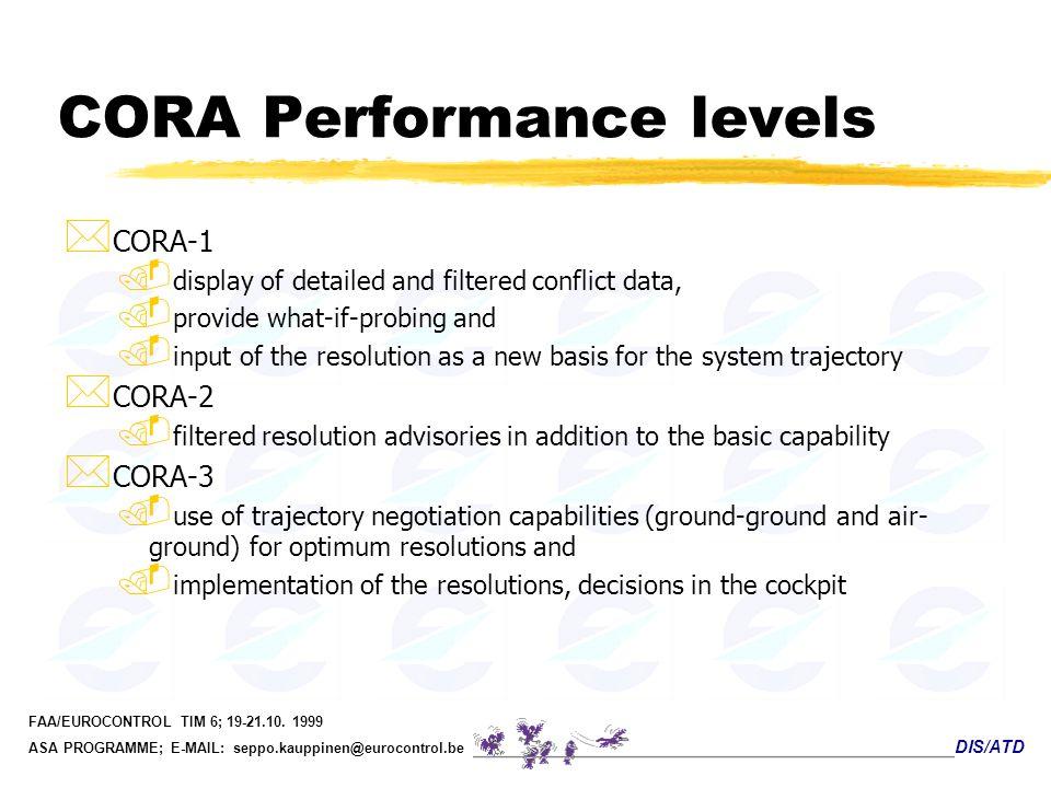 DIS/ATD FAA/EUROCONTROL TIM 6; 19-21.10. 1999 ASA PROGRAMME; E-MAIL: seppo.kauppinen@eurocontrol.be CORA Performance levels * CORA-1. display of detai