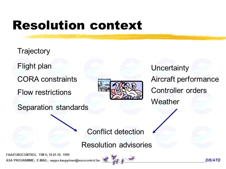 DIS/ATD FAA/EUROCONTROL TIM 6; 19-21.10. 1999 ASA PROGRAMME; E-MAIL: seppo.kauppinen@eurocontrol.be Resolution context Trajectory Uncertainty Conflict