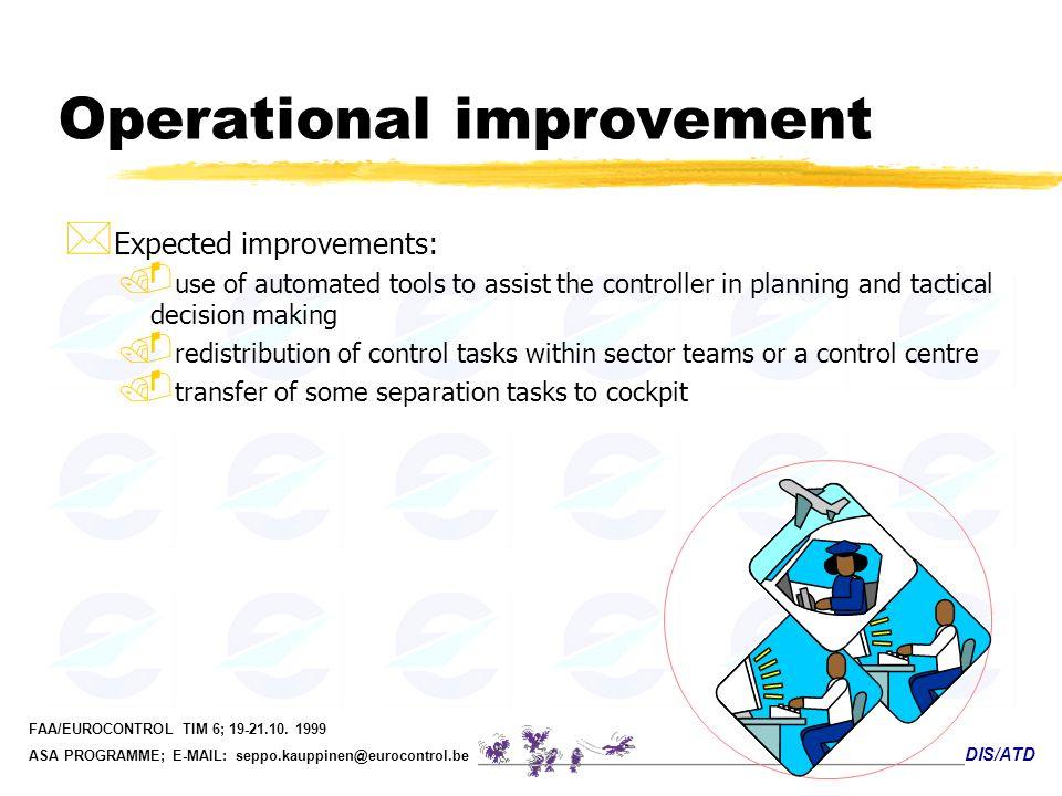 DIS/ATD FAA/EUROCONTROL TIM 6; 19-21.10. 1999 ASA PROGRAMME; E-MAIL: seppo.kauppinen@eurocontrol.be Operational improvement * Expected improvements:.