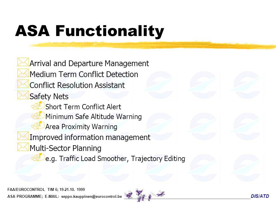 DIS/ATD FAA/EUROCONTROL TIM 6; 19-21.10. 1999 ASA PROGRAMME; E-MAIL: seppo.kauppinen@eurocontrol.be ASA Functionality * Arrival and Departure Manageme
