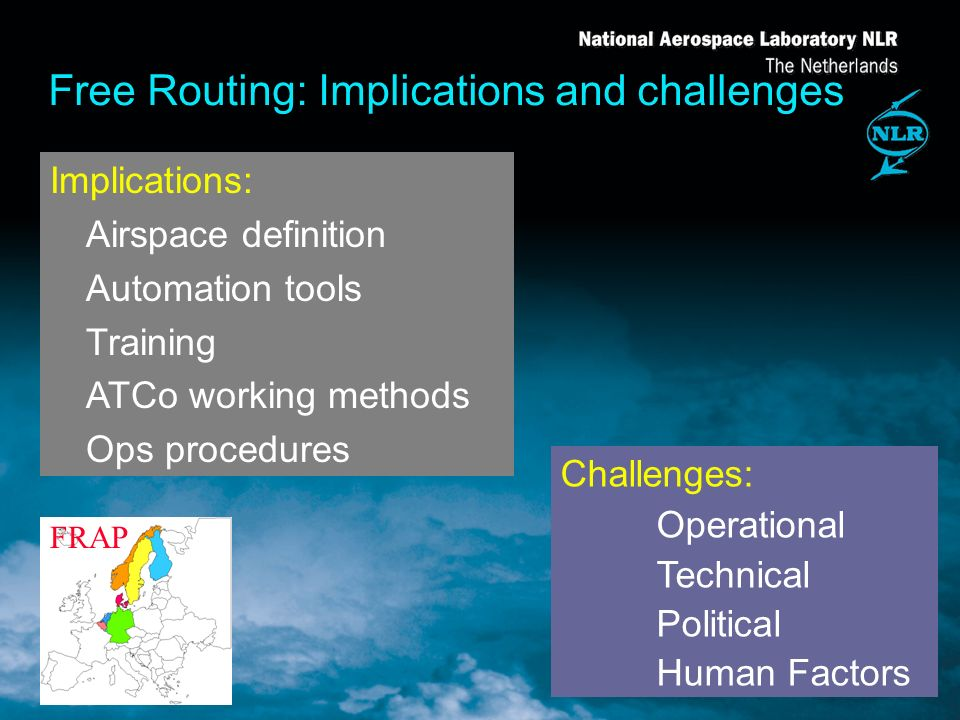 Free Routing: Implications and challenges Implications: Airspace definition Automation tools Training ATCo working methods Ops procedures Challenges: Operational Technical Political Human Factors FRAP