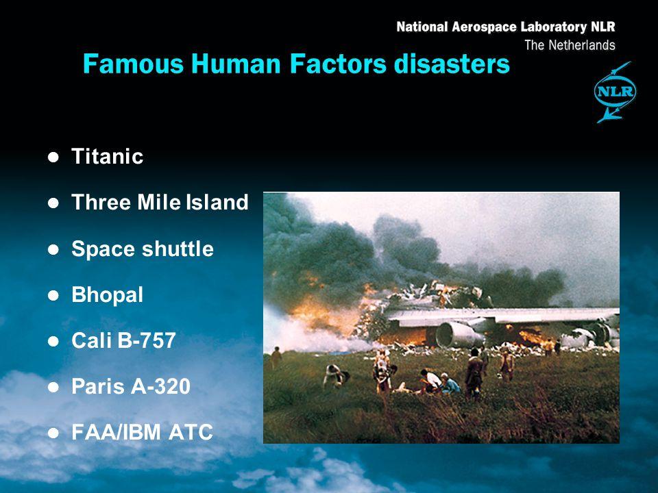 l Titanic l Three Mile Island l Space shuttle l Bhopal l Cali B-757 l Paris A-320 l FAA/IBM ATC Famous Human Factors disasters