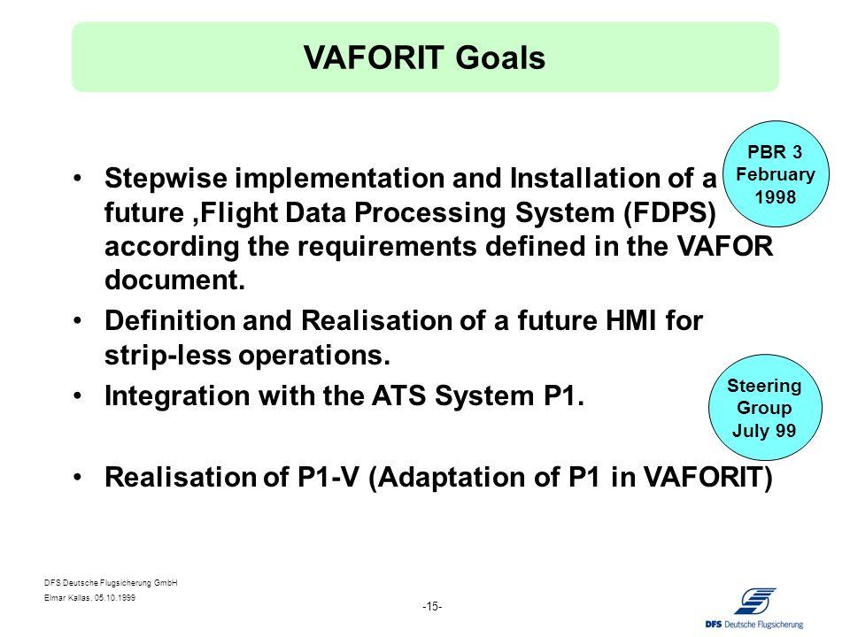 DFS Deutsche Flugsicherung GmbH Elmar Kallas, 05.10.1999 -15- Stepwise implementation and Installation of a future Flight Data Processing System (FDPS