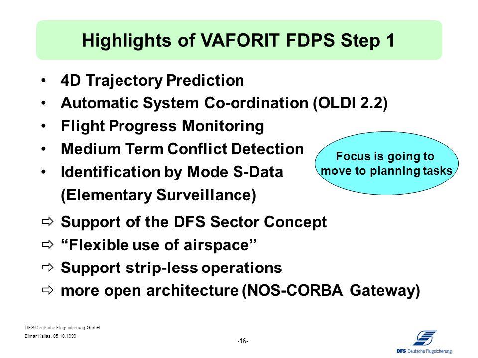 DFS Deutsche Flugsicherung GmbH Elmar Kallas, 05.10.1999 -16- 4D Trajectory Prediction Automatic System Co-ordination (OLDI 2.2) Flight Progress Monit