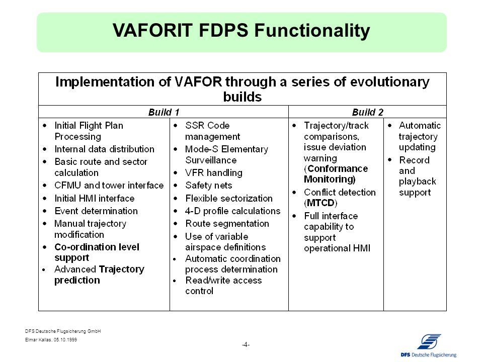 DFS Deutsche Flugsicherung GmbH Elmar Kallas, 05.10.1999 -4- VAFORIT FDPS Functionality