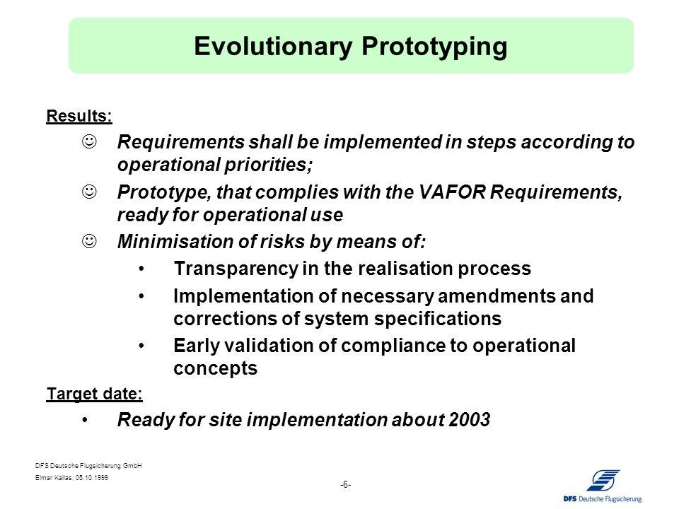 DFS Deutsche Flugsicherung GmbH Elmar Kallas, 05.10.1999 -6- Results: Requirements shall be implemented in steps according to operational priorities;