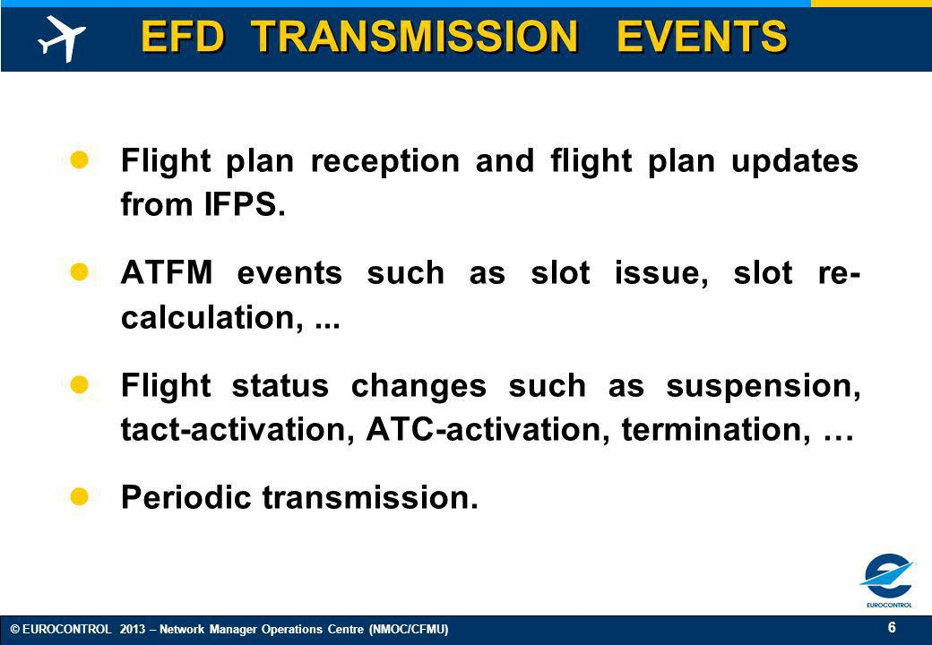 17 © EUROCONTROL 2013 – Network Manager Operations Centre (NMOC/CFMU) CONCLUSIONS ETFMS Data Re-distribution will improve data quality and sharing.