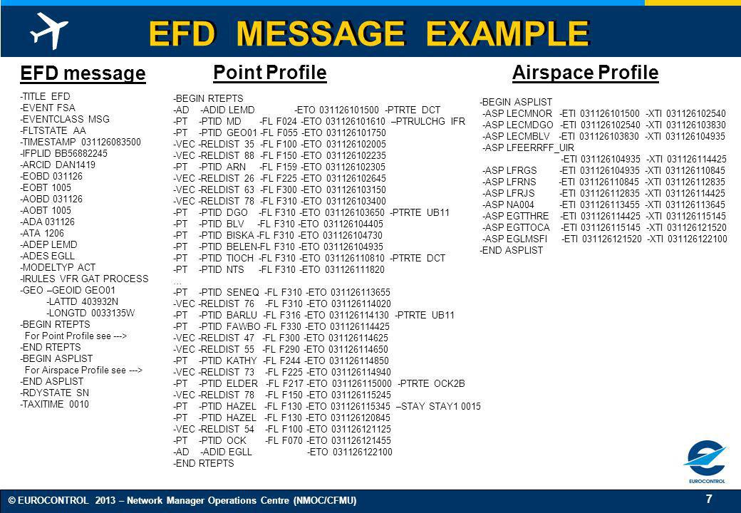 8 © EUROCONTROL 2013 – Network Manager Operations Centre (NMOC/CFMU) EFD FILTERING FOR ANSPs (1/3) ETFMS produces EFDs that are distributed in broadcast by the ETFMS-CS to all ENs equipped for DDS.