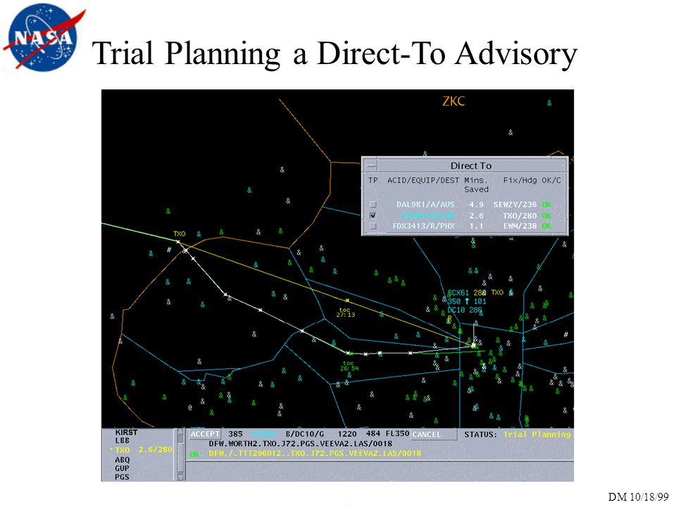 DM 10/18/99 Trial Planning a Direct-To Advisory