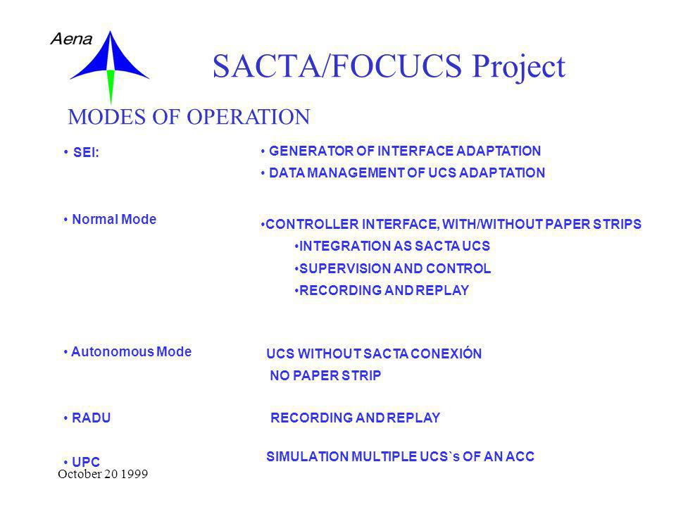 October 20 1999 SACTA/FOCUCS Project SEI: Normal Mode Autonomous Mode RADU UPC MODES OF OPERATION GENERATOR OF INTERFACE ADAPTATION DATA MANAGEMENT OF UCS ADAPTATION CONTROLLER INTERFACE, WITH/WITHOUT PAPER STRIPS INTEGRATION AS SACTA UCS SUPERVISION AND CONTROL RECORDING AND REPLAY UCS WITHOUT SACTA CONEXIÓN NO PAPER STRIP RECORDING AND REPLAY SIMULATION MULTIPLE UCS`s OF AN ACC