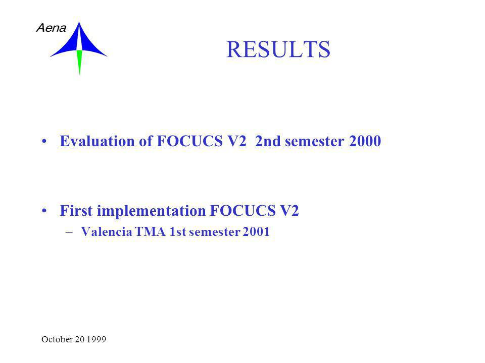 October 20 1999 RESULTS Evaluation of FOCUCS V2 2nd semester 2000 First implementation FOCUCS V2 –Valencia TMA 1st semester 2001