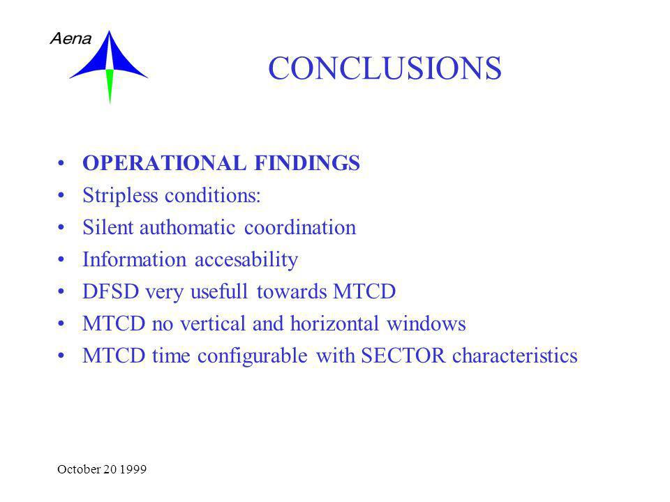 October 20 1999 CONCLUSIONS OPERATIONAL FINDINGS Stripless conditions: Silent authomatic coordination Information accesability DFSD very usefull towards MTCD MTCD no vertical and horizontal windows MTCD time configurable with SECTOR characteristics
