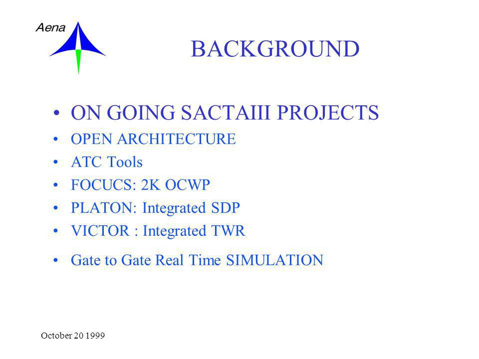 October 20 1999 BACKGROUND ON GOING SACTAIII PROJECTS OPEN ARCHITECTURE ATC Tools FOCUCS: 2K OCWP PLATON: Integrated SDP VICTOR : Integrated TWR Gate to Gate Real Time SIMULATION