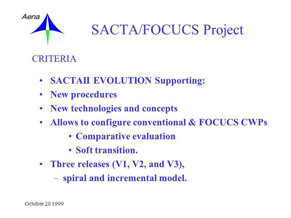 October 20 1999 SACTA/FOCUCS Project SACTAII EVOLUTION Supporting: New procedures New technologies and concepts Allows to configure conventional & FOCUCS CWPs Comparative evaluation Soft transition.