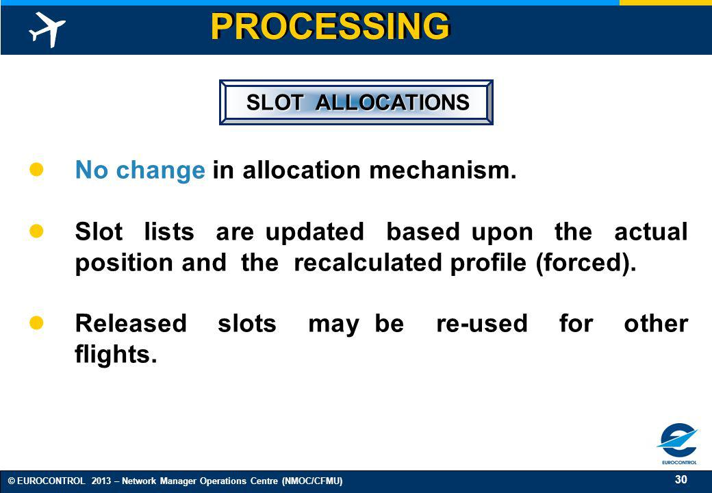 30 © EUROCONTROL 2013 – Network Manager Operations Centre (NMOC/CFMU) SLOT ALLOCATIONS No change in allocation mechanism. Slot lists are updated based