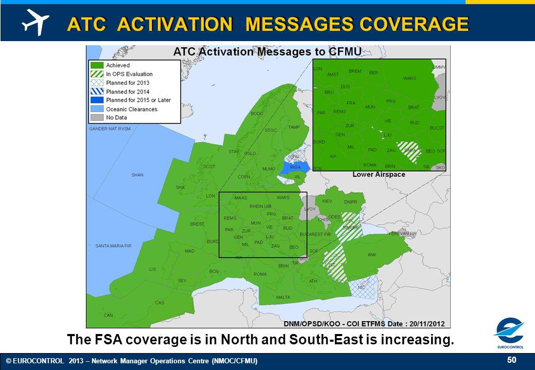 50 © EUROCONTROL 2013 – Network Manager Operations Centre (NMOC/CFMU) ATC ACTIVATION MESSAGES COVERAGE The FSA coverage is in North and South-East is