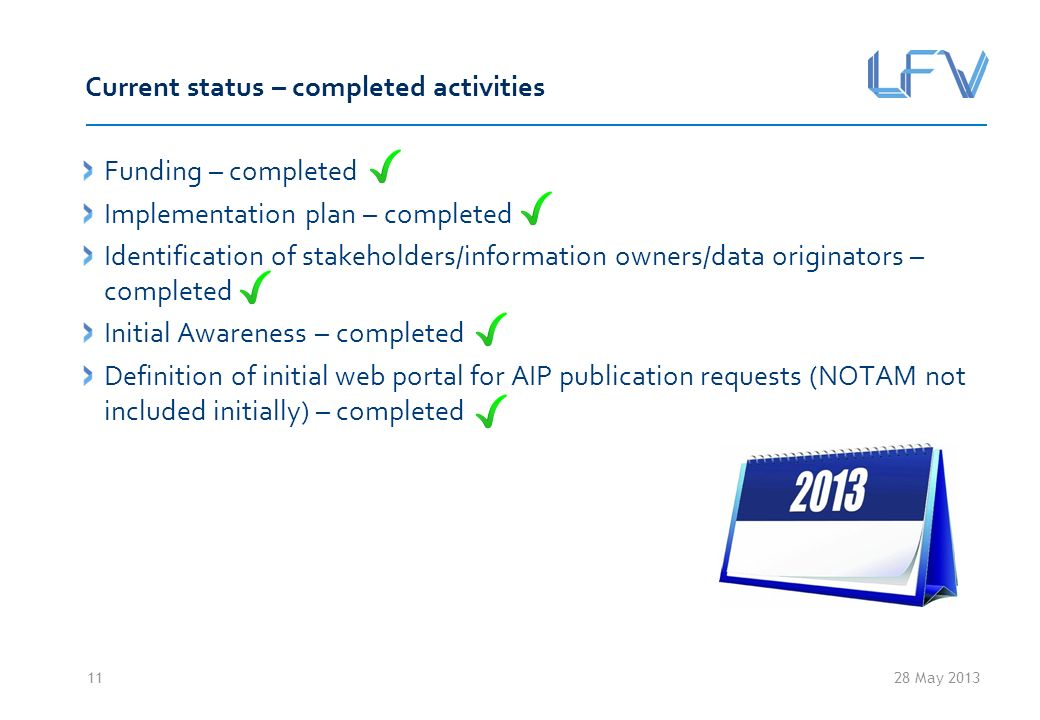 28 May 2013 Current status – completed activities Funding – completed Implementation plan – completed Identification of stakeholders/information owners/data originators – completed Initial Awareness – completed Definition of initial web portal for AIP publication requests (NOTAM not included initially) – completed 11