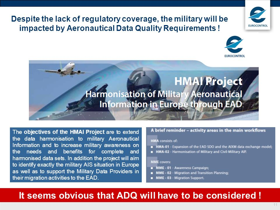 11 Despite the lack of regulatory coverage, the military will be impacted by Aeronautical Data Quality Requirements ! The objectives of the HMAI Proje