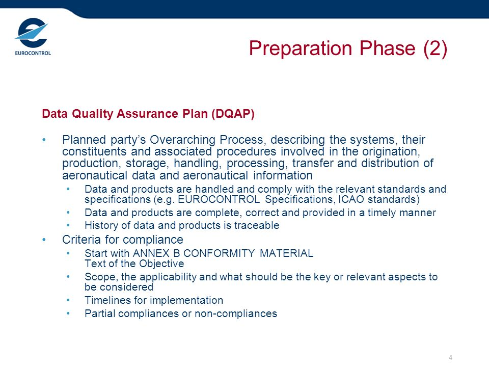 4 Preparation Phase (2) Data Quality Assurance Plan (DQAP) Planned partys Overarching Process, describing the systems, their constituents and associat