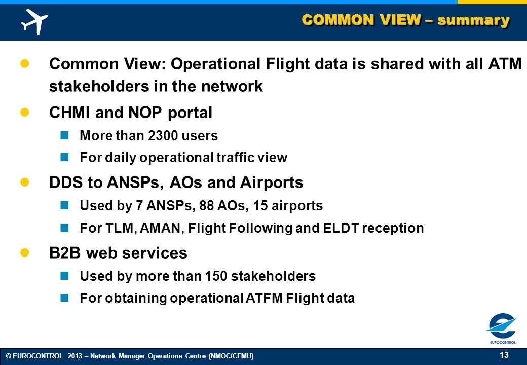 13 © EUROCONTROL 2013 – Network Manager Operations Centre (NMOC/CFMU) COMMON VIEW – summary Common View: Operational Flight data is shared with all AT