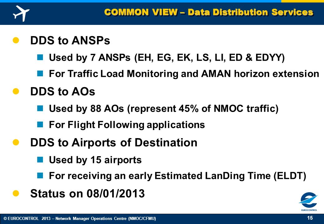 15 © EUROCONTROL 2013 – Network Manager Operations Centre (NMOC/CFMU) COMMON VIEW – Data Distribution Services DDS to ANSPs Used by 7 ANSPs (EH, EG, E