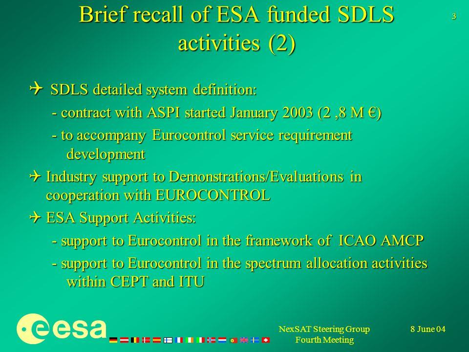 NexSAT Steering Group Fourth Meeting 8 June 04 4 Views of ESA contributing Member States w.r.t.