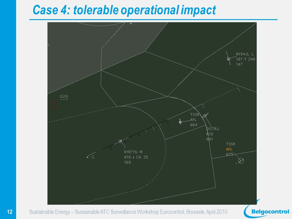 12 Sustainable Energy – Sustainable ATC Surveillance Workshop Eurocontrol, Brussels, April 2010 Case 4: tolerable operational impact